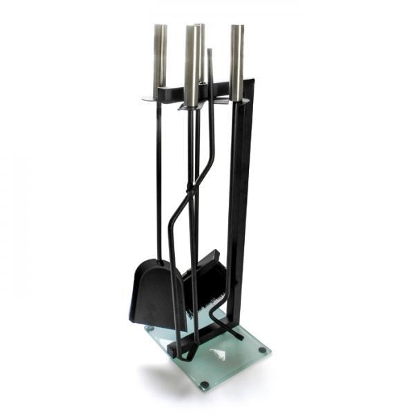 4tlg. Kaminbesteck Basic Kamingarnitur Stahl/Glas