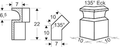 CB keramische Luftleiste Eckmodul 135 Grad Abmessungen