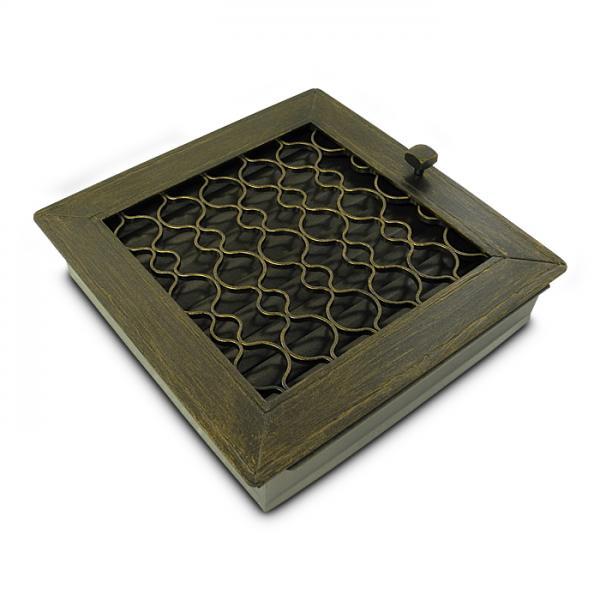 Warmluftgitter Retro Gold 20x20 cm Kamin Lüftungsgitter