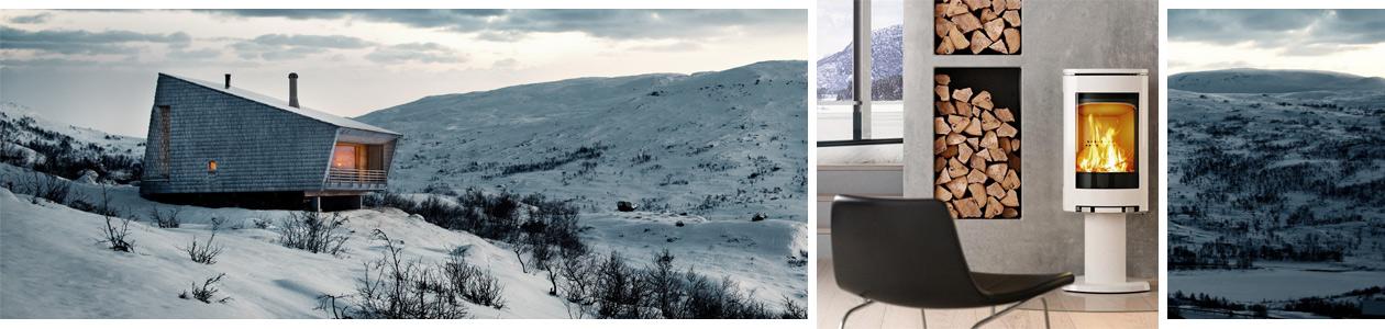 skandinavische Winterlandschaft und der Jotul F 373 WHE