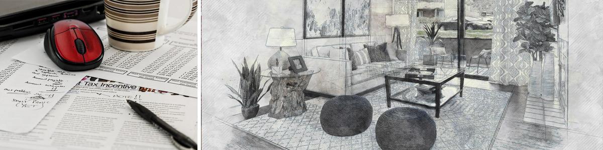 Dokumente auf Schreibtisch und Zeichnung eines geplanten Wohnzimmers