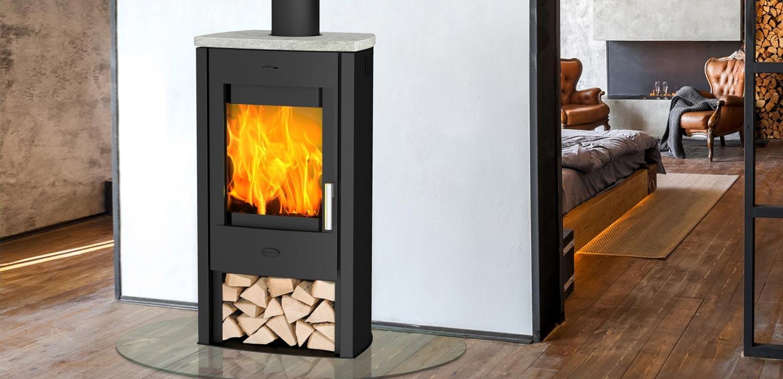 Kaminofen Fireplace Tuvalu Speckstein Top Montagebeispiel