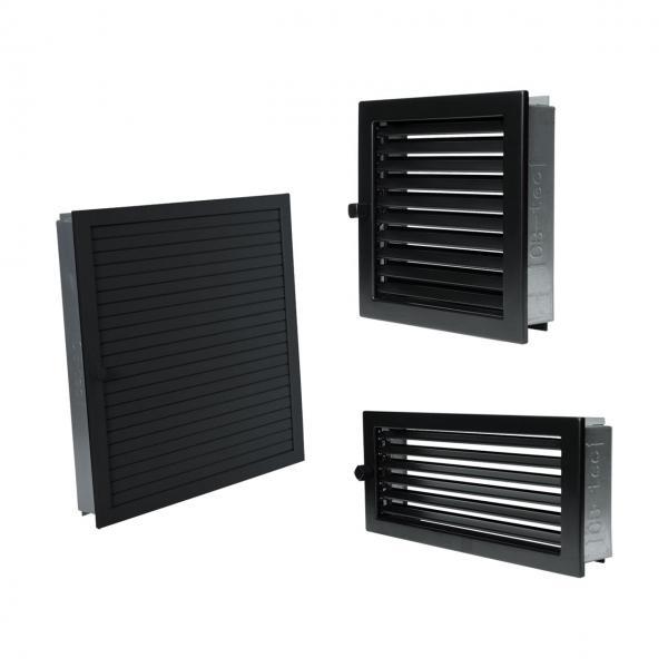 Lüftungsgitter für Ofen Luftgitter regulierbar in schwarz Kamingitter