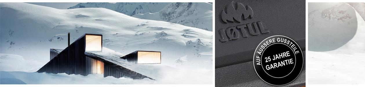 skandinavische Winterlandschaft und Garantiesiegel