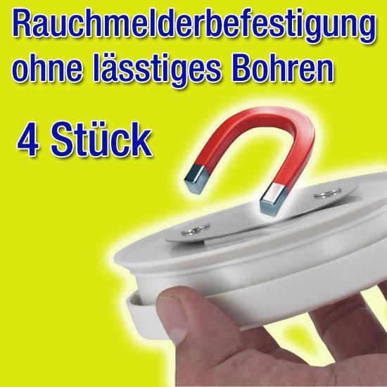 4x Rauchmelder Brandmelder Magnet Montagekit DN 7 cm