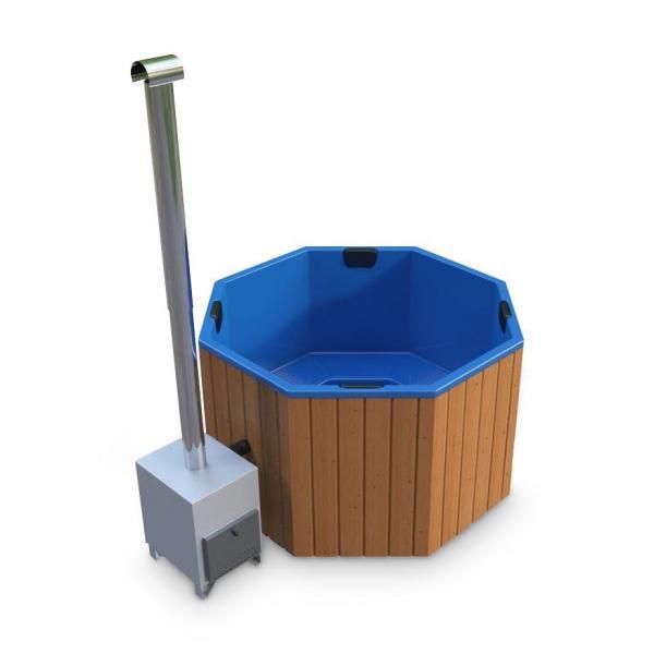 Hot Tub AA-Kaminwelt Badefass achteckig mit Kunststoffeinsatz und Außenofen