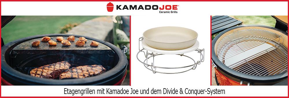 Kamado Joe bietet mit seinem Divide & Conquer System die Möglichkeit gleichzeitigt auf unterschiedlichen Ebenen auf unterschiedlichen Grillrosten zu grillen. So können Sie auf der einen Ebene indirekt das Gemüse garen und auf einer anderen Ebene auf Steinplatten gefüllte Teigtaschen vorbereiten oder einfach Steaks auf dem Edelstahlrost grillen!