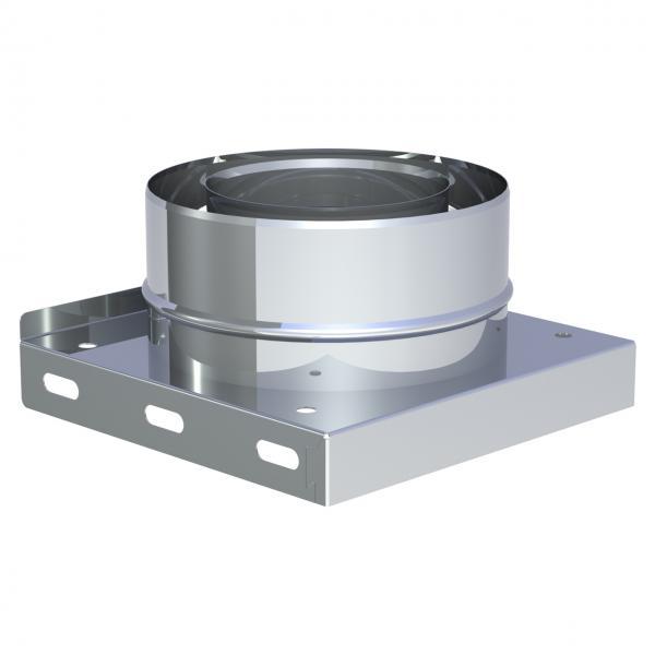 """Jeremias LAS Grundplatte mit 2x 1/2"""" Nippel, Verschlusskappe und Kondensatablauf unten 100/150 mm"""