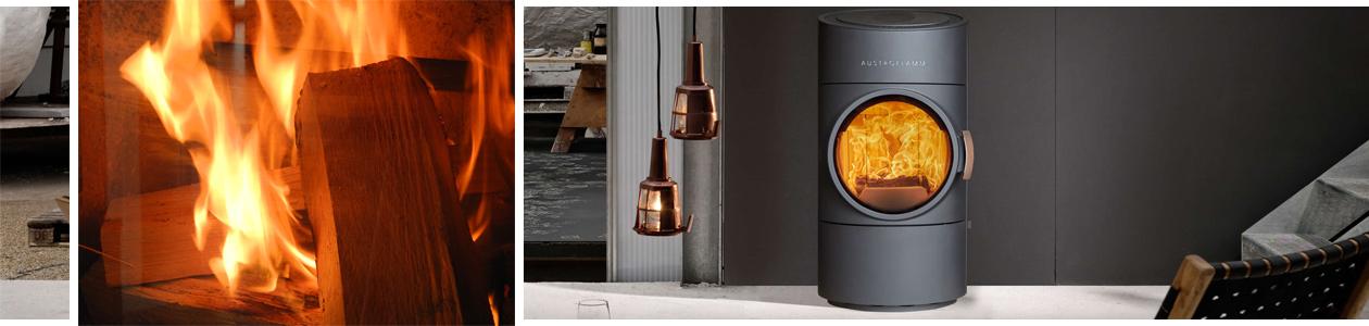 Ambientebild des Kaminofens Clou Compact von Austroflamm und vergrößerte Aufnahme eines Holzfeuers