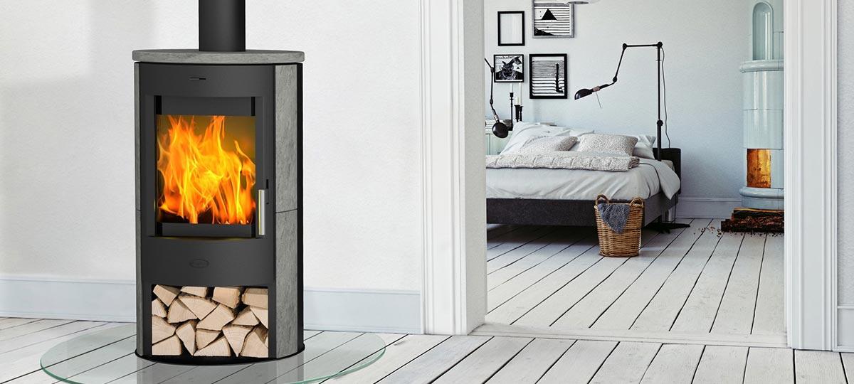 Kaminofen Fireplace Zaria Speckstein Montagebeispiel