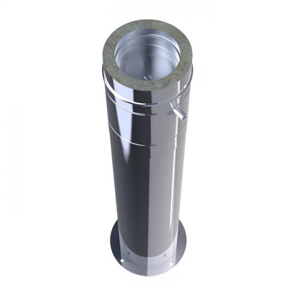 Stütze mit Kondensatablauf doppelwandig AA-Kaminwelt DN 180 mm Edelstahl