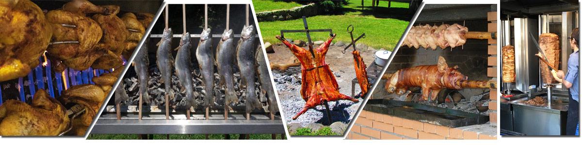 Bildfolge mit Drehspießgerichten während des Garvorgangs