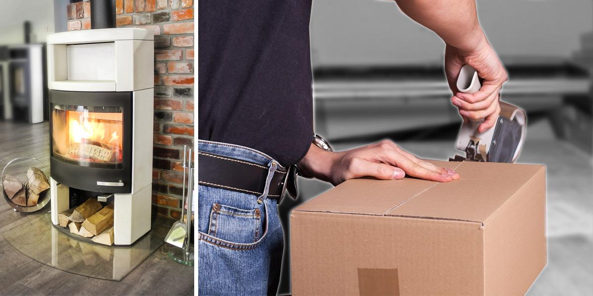 Ambiente Kamin und Mitarbeiter verpackt ein Paket