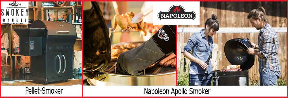 Der ofen.de bietet Grillarten wie Smoker, Holzkohlegrills oder Kugelgrills an. Wie wäre es beispielsweise mit dem 3 in 1 Grill Apollo 300 von Napoleon?