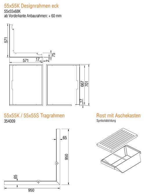 Kamineinsatz Austroflamm 55x55 K 2.0 Eck Zubehör