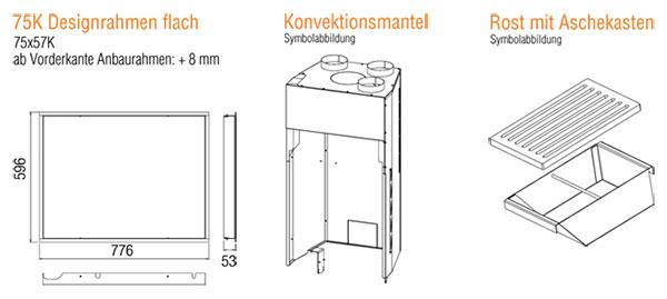Kamineinsatz Austroflamm 75x57 K 2.0 Flach Zubehör