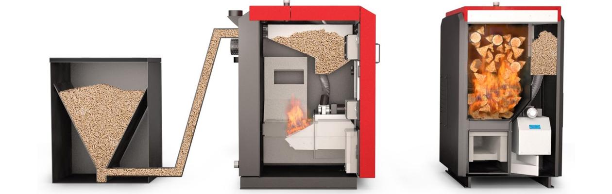 Schema Beschickung Biomassekessel und Querschnitt Mischkessel