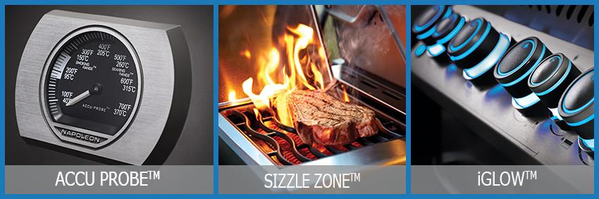 Ausstattungselemente der Napoleongasgrills: ACCU PROBE- für die temperaturkontrolle, SIZZLE ZONE- zum scharfen Anbraten und SAFETY GLOW- beleuchtete Drehregler!