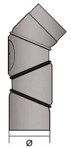 Ofenrohr Bogen 120 mm 3x 45° verstellbar Schwarz mit Tür