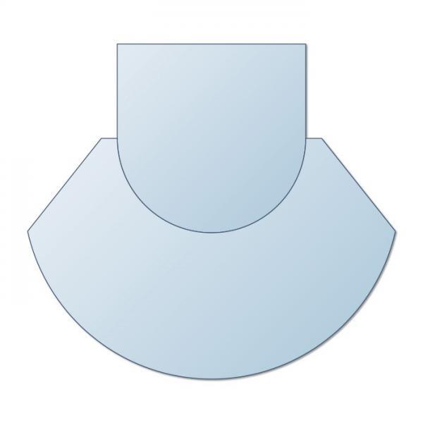 Glasplatte Kamin zweiteilig AA-Kaminwelt Zunge 1100x1250 mm