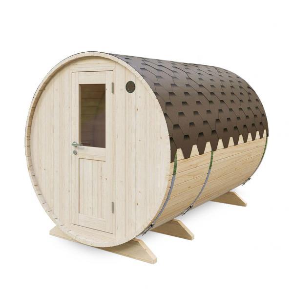 Gartensauna AA-Kaminwelt Saunafass 3 m mit Vorraum