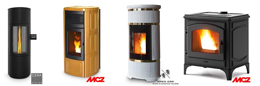 Pelletofenmodelle mit abschaltbarem Gebläse von Segio Leoni, MCZ und Cera Design