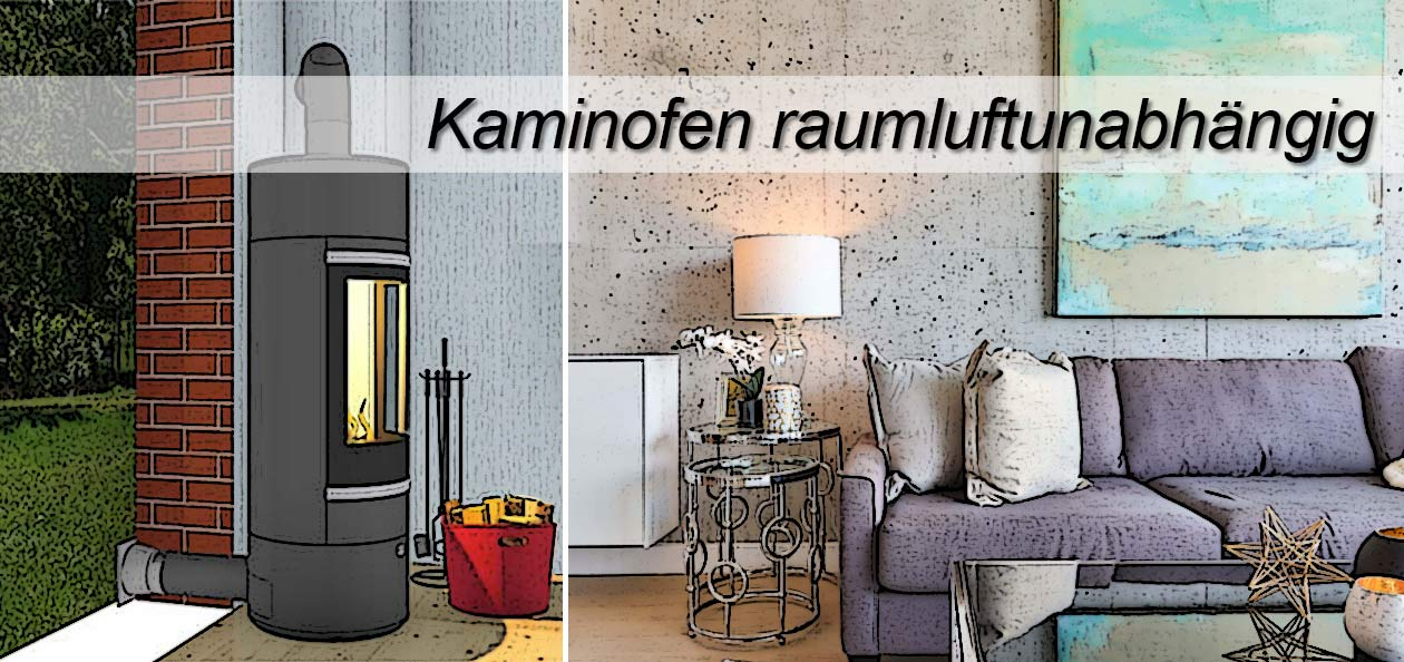 raumluftunabhängiger Kaminofen im Wohnzimmer