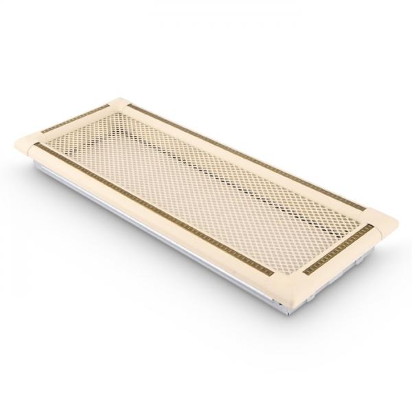 Kaltluftgitter 20x50cm Kamin Lüftungsgitter Ofen Gitter Elfenbein Gold