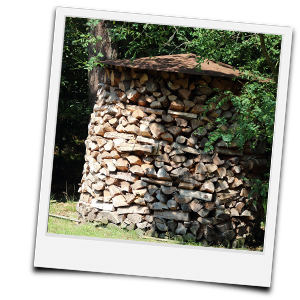 Holzmiete mit Blechdach