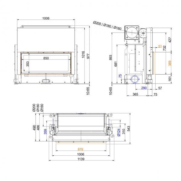 Kamineinsatz Brunner Architektur 38/86 Schiebetür, Warmluftaufsatz seitlicher Abgang 10 kW
