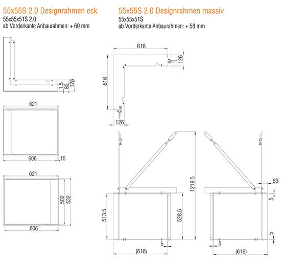Kamineinsatz Austroflamm 55x55x51 S 2.0 Eck Designrahmen