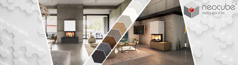 Titelbild mit 2 Ambientebilder von Kaminbausätzen der Marke Neocube