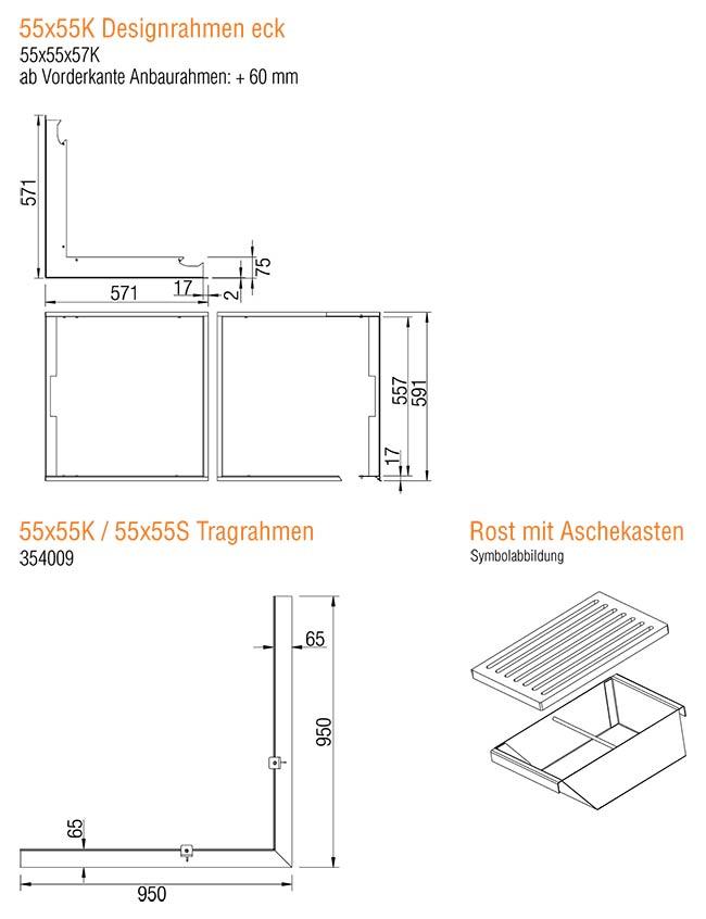 Kamineinsatz Austroflamm 55x55x57 K 2.0 Eck Zubehör