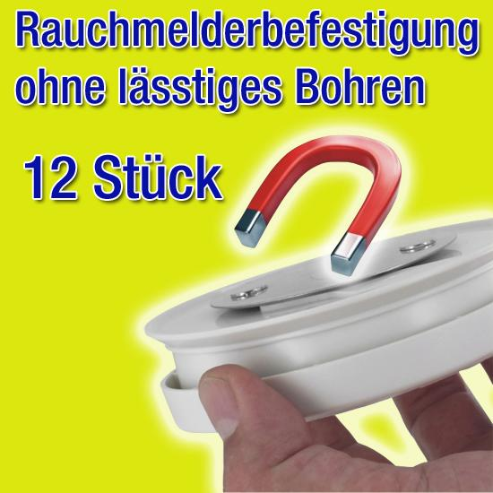 12x Rauchmelder Brandmelder Magnet Montagekit DN 7 cm