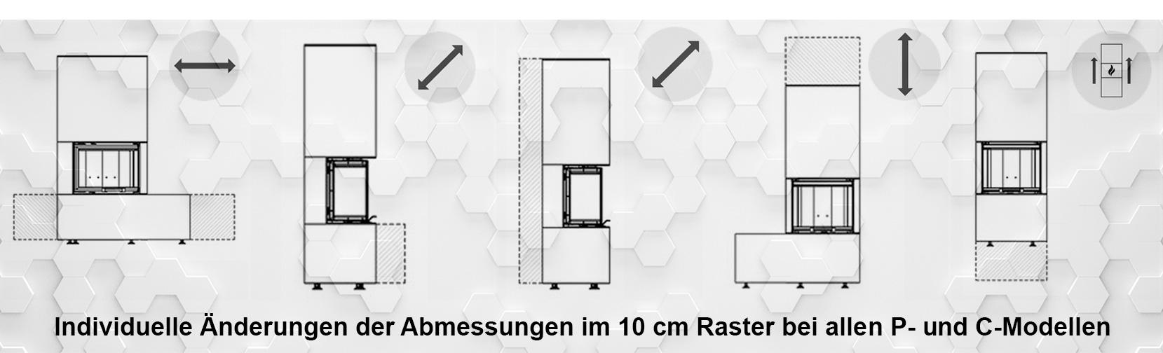 technische Zeichnungen zur Veranschaulichung der feel-free-Verlängerungen im 10 cm Raster