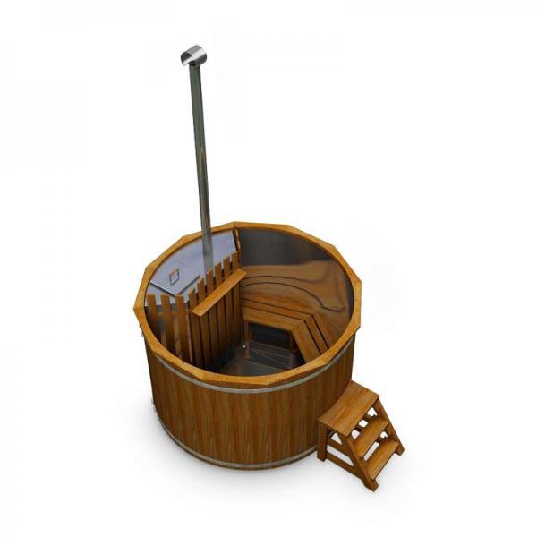 Hot Tub AA-Kaminwelt Badefass aus Thermoholz mit Edelstahleinsatz