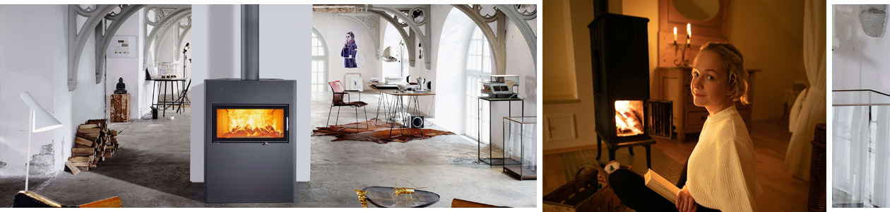 Ambientebilder vom großen Wohnraum und kleinen Wohnraum mit Kaminofen