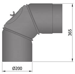 Ofenrohr Bogen 200 mm 90° verstellbar Schwarz mit Tür Rohr Rauchrohr