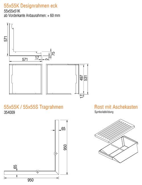Kamineinsatz Austroflamm 55x55x51 K 2.0 Eck Zubehör