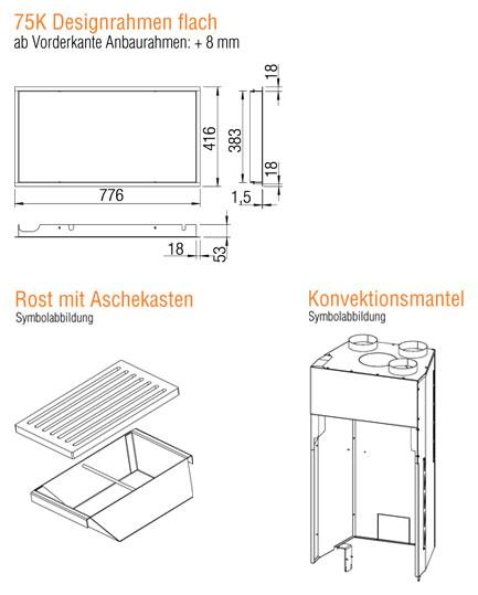 Kamineinsatz Austroflamm 75x39 K 2.0 Flach Zubehör