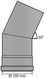 Pelletrohr Bogen 100 mm 30° Schwarz Pellet Ofenrohr Rauchrohr Knie
