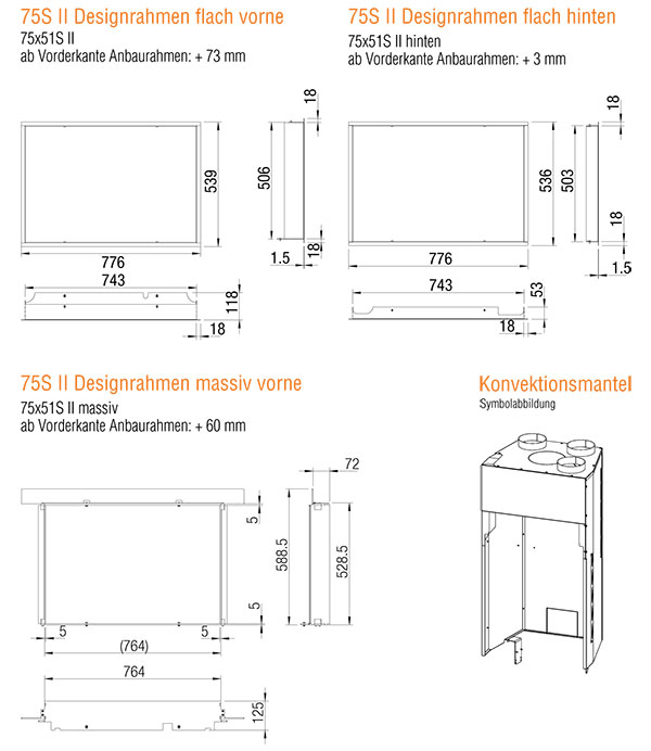 Kamineinsatz Austroflamm 75x51 S II 2.0 Flach Zubehör