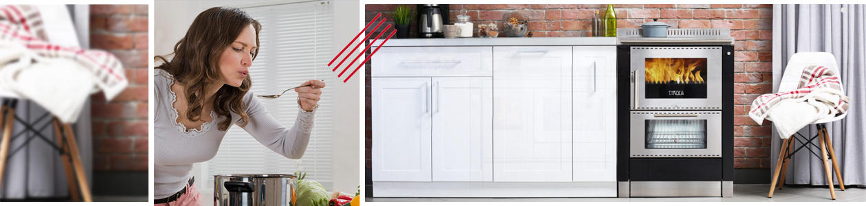 Tyrola Holzherd in Küchenzeile mit abschmeckender Frau