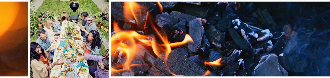 Ambiente Grillparty mit dem Holzkohlegrill Kensington II und einem Holkohle-Hintergrundbild
