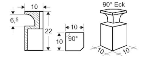 CB keramische Luftleiste Eckmodul 90 Grad Abmessungen