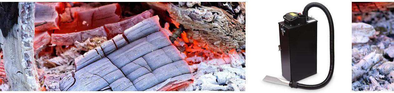 Aschesaugermodel von AA-Kaminwelt und heiße Asche im Hintergrund