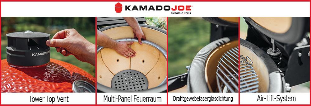 Kamado Joe bietet so einiges an technischen Highlights um das Grillen mit einem Keramikgrill zu perfektionieren: Top Vent, extra dichte Glasfaserdichtung, Air-Luftsystem und einen Multi-Panel-Feuerraum