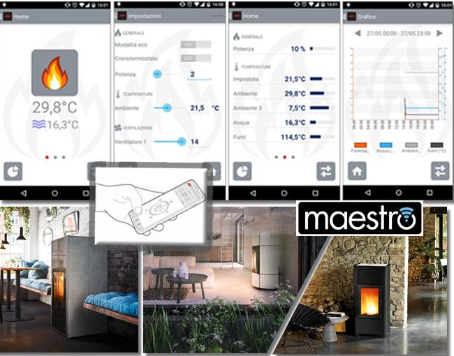 Collage zum Thema Funktionen App Steuerung Pelletofen