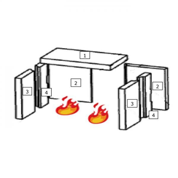 Feuerraumauskleidung Seitenstein Vorne Wamsler Kaminofen 1 (100044)