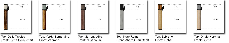 Bild mit 6 Gestaltungsvarianten zweifarbiger Türgriffe